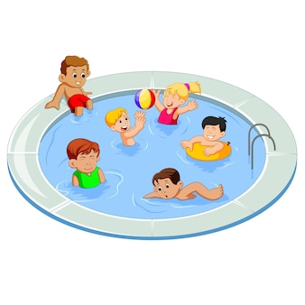 Happy kids playing in an outdoor swimming pool