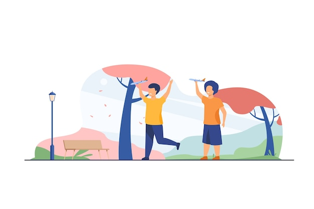 Happy kids playing with toy planes in fall park. boys practicing aeromodelling hobby flat vector illustration. leisure, activity, development