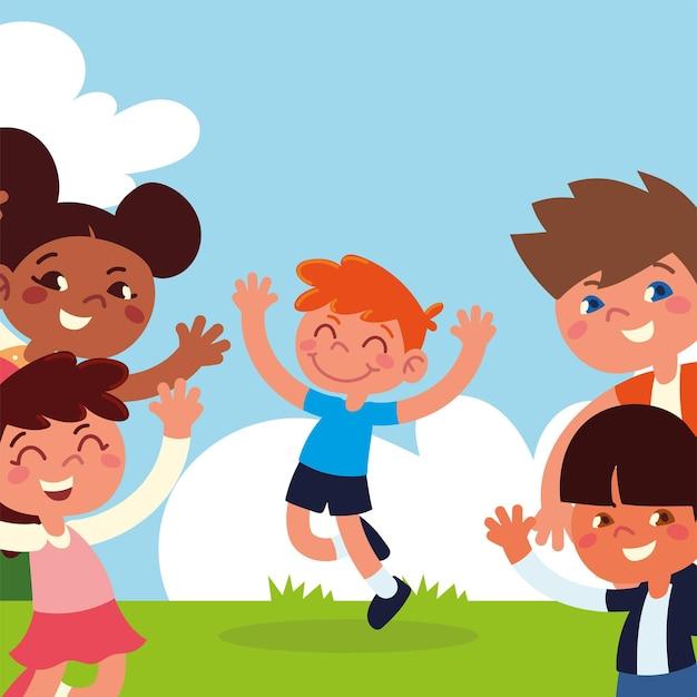 Счастливые дети, играющие