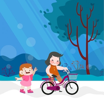 Happy kids riding bicycle together