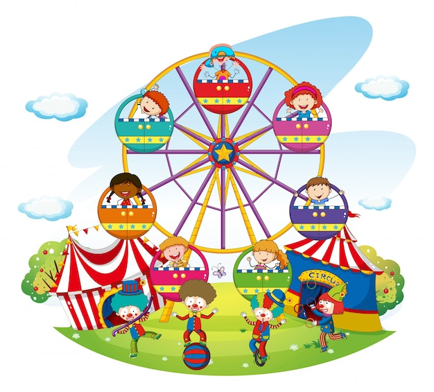 Happy kids riding on ferris wheel