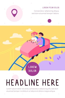Happy kids riding on high rollercoaster flat illustration