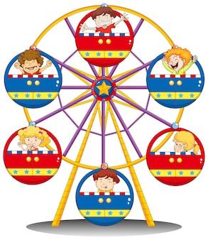 Счастливые дети едут на колесе обозрения