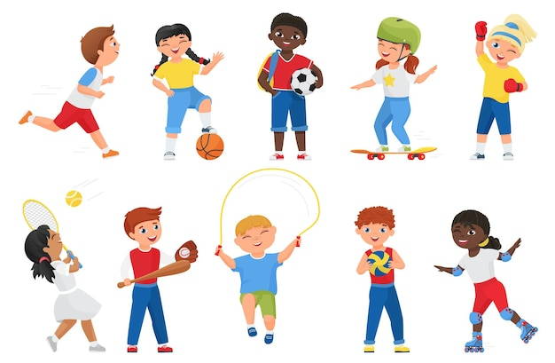 Happy kids do sports exercises. cartoon sportive boy girl child characters run marathon, roller skate or skateboard, jump rope, play soccer tennis baseball games set