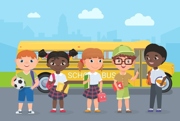 Happy kids stand on road in front of school bus children passengers go for knowledge