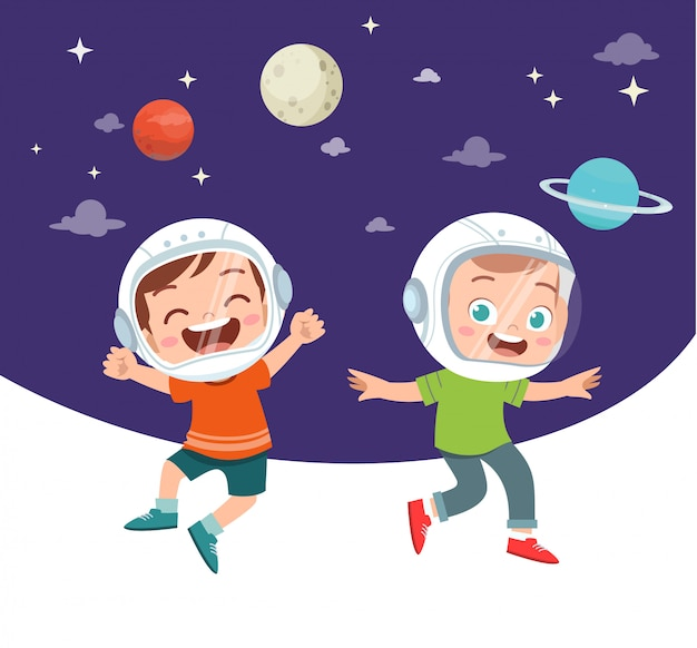 Happy kids studyin astronomy