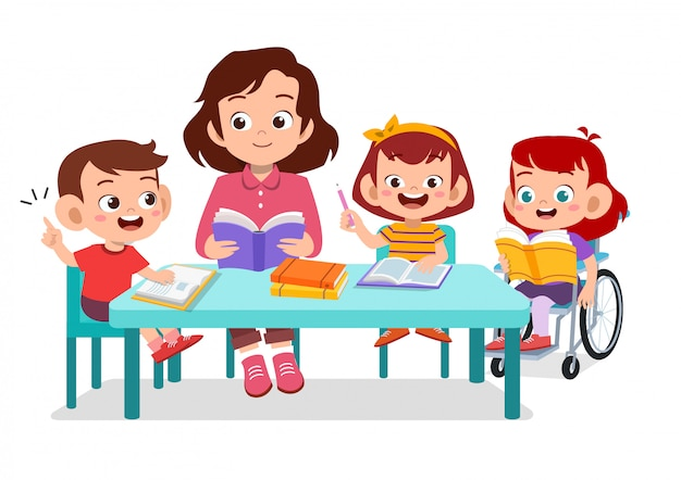 Happy kids studying together with their teacher