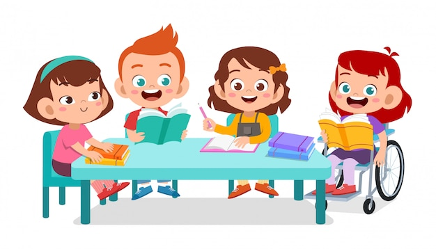 Happy kids studying together