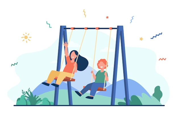 Happy kids swinging on swings. little friends enjoying activities on playground. vector illustration for childhood, leisure time outdoors, friendship concept