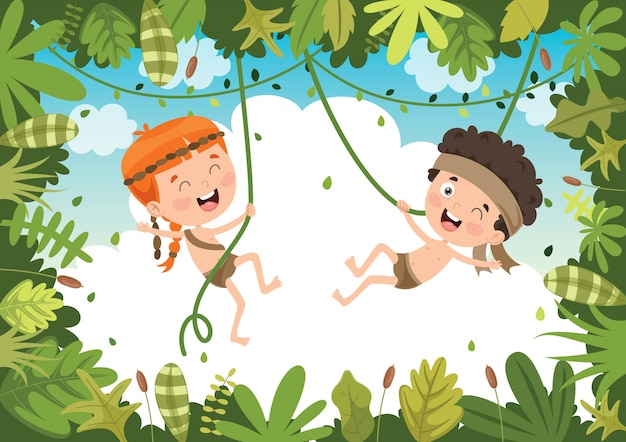 Happy kids swinging with root rope in the jungle