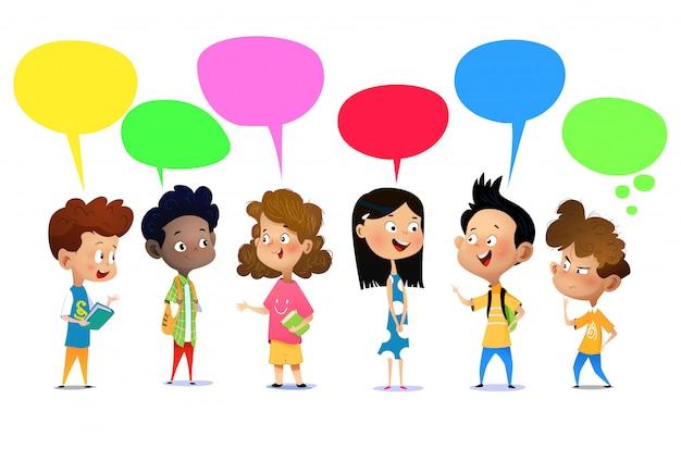 Happy kids talking