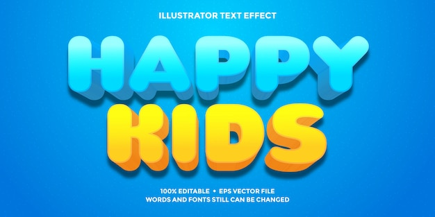 Happy kids text effect blue and orange color