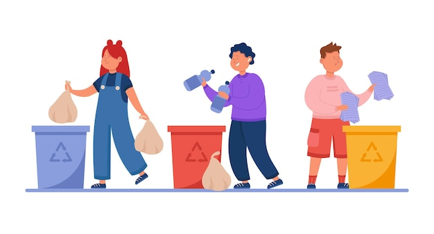 Happy kids throwing trash in recycle dustbins