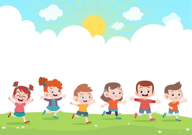 Happy kids together vector illustration