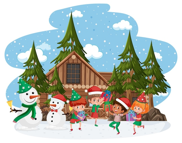 Счастливые дети носят рождественский костюм в снежной сцене