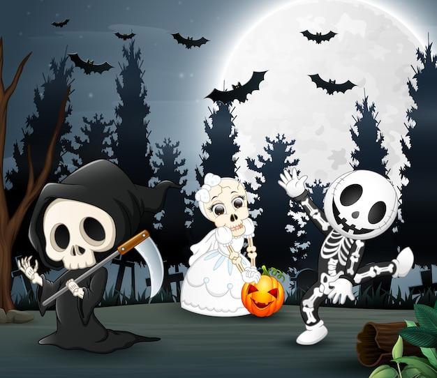Happy kids wearing halloween costume in the night