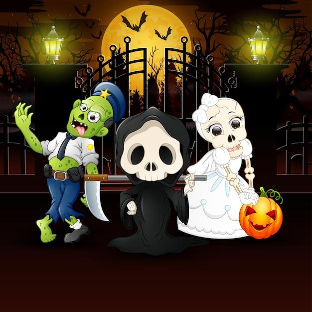 Happy kids wearing halloween costume outdoors at night