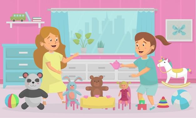 家でおもちゃを遊んでいるとき幸せな子供ベクトルイラストコンセプト
