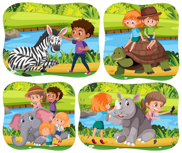 Happy kids with animals in nature background
