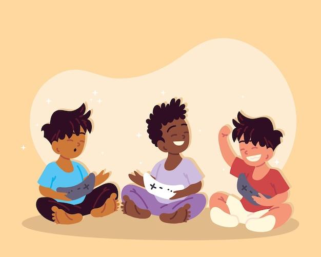 コントロールビデオゲームで幸せな子供たち