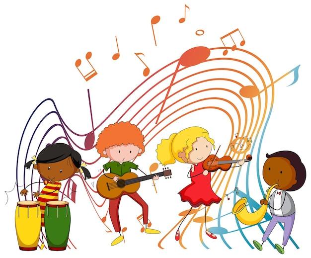 白い背景の上の音楽メロディシンボルと幸せな子供たち