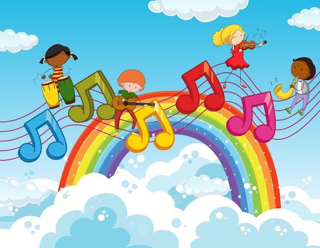Happy kids with music melody symbols in the sky with rainbow