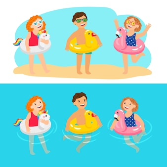 Happy kids with pool swimming rings. funny and fun children with inflatable pool rings, enjoy summer characters, enjoying kids with rubber animals lifebelts, vector illustration