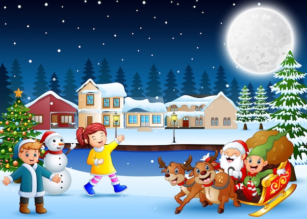 Happy kids with santa claus and elf riding his sleigh at the winter night
