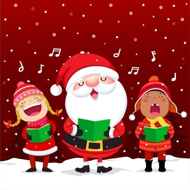 Счастливые дети с санта-клаусом поют рождественские гимны