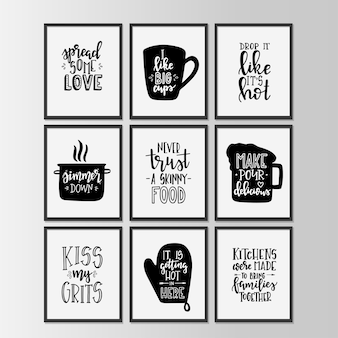 Happy kitchen on hand drawn typography poster
