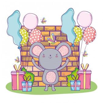Happy koala birthday with presents gifts