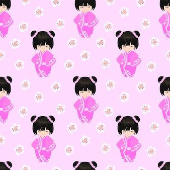 Happy kokeshi pattern