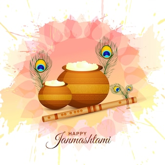 Happy krishna janmashtami background with matki and makhan