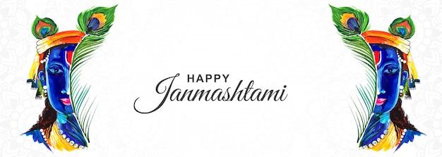 Felice krishna janmashtami creative festival banner design
