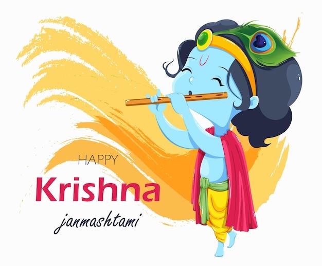 행복한 krishna janmashtami 인사말 카드 플루트를 지불하는 lord krishna 아이