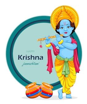 Happy krishna janmashtami greeting card. lord krishna paying flute. stock vector illustration on abstract background