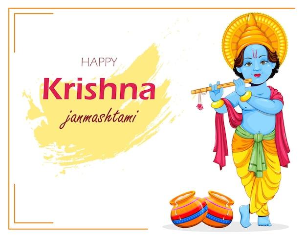 Happy krishna janmashtami greeting card lord krishna paying flute