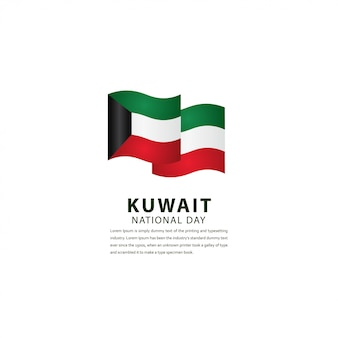 Happy kuwait independence day celebration template design illustration