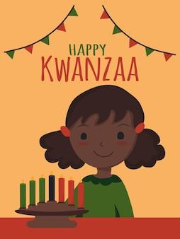 Счастливый кванза афро-американский этнический культурный праздник милая афро-американская девушка с кинарой