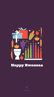 Happy kwanzaa vertical vector social media story template with the symbols of african heritage - kinara candles, crops, corn, unity cup and holiday gifts on purple background.