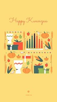 Kinara 양초, 작물, 옥수수, 단결 컵 및 선물-아프리카 유산의 상징으로 행복 kwanzaa 수직 벡터 소셜 미디어 스토리 템플릿. 아프리카 계 미국인 문화의 연례 행사.