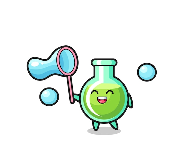 Happy lab beakers cartoon playing soap bubble , cute style design for t shirt, sticker, logo element