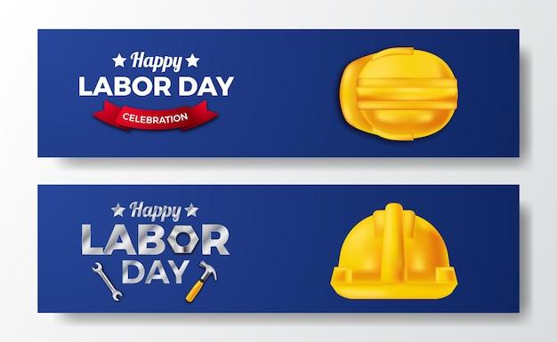 幸せな労働日。 3d安全黄色のヘルメット。バナーチラシテンプレート