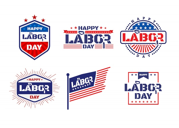 Happy labor day. america labor day labels or badges design