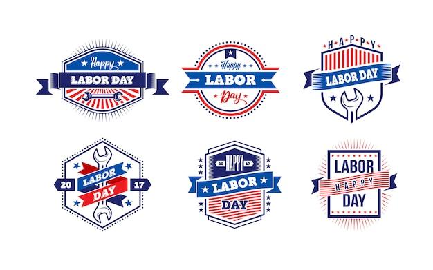 幸せな労働者の日。アメリカの労働者の日ラベルまたはバッジ