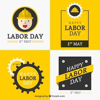 노란색으로 행복한 노동절 배지 수집