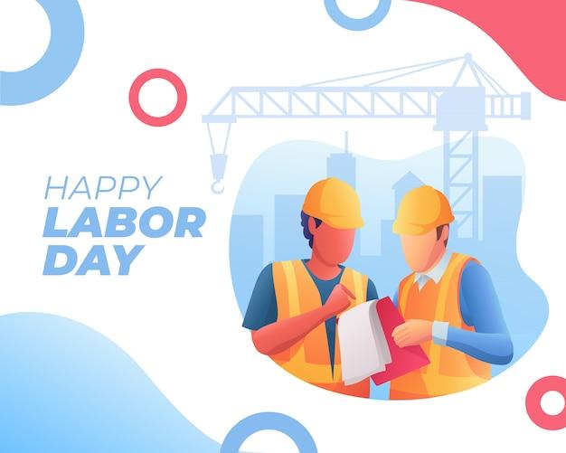 행복한 노동절 배너와 두 노동자의 토론