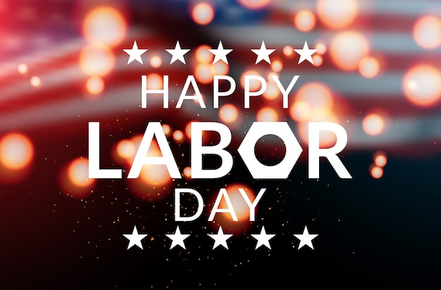 Happy labor day banner vector illustration, beautiful usa flag waving on blue star pattern background