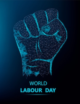Happy labor day banner with polygonal hand
