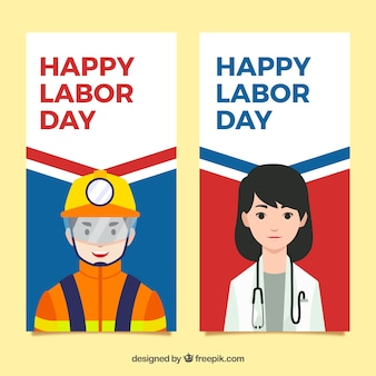 Happy labor day banners collection